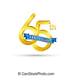 65th golden Anniversary logo with blue ribbon isolated on white background. 3d gold Anniversary logo