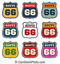 66, 型, ルート, 私達, 紋章, ベクトル, ハイウェー