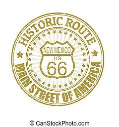 66, mexikó, bélyeg, útvonal, történelmi, új