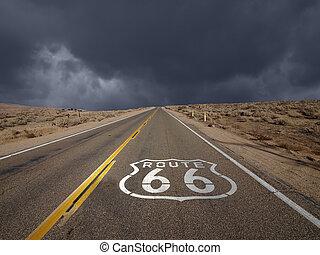 66, parcours, ciel, Orage,  mojave,  désert