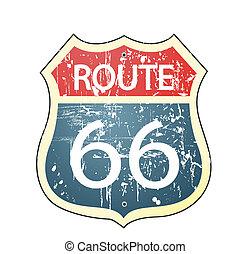 66, roadsign, tracciato, grunge