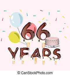 66 years Happy Birthday card