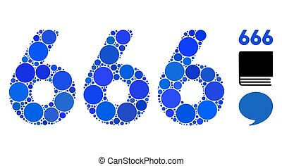 666 Digits Text Mosaic Icon of Round Dots - 666 digits text ...