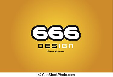 666 number numeral digit white on yellow background - design...
