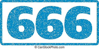 666 Rubber Stamp - Blue rubber seal stamp with 666 text. ...