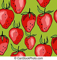 666 strawberry - seamless pattern with strawberry berries