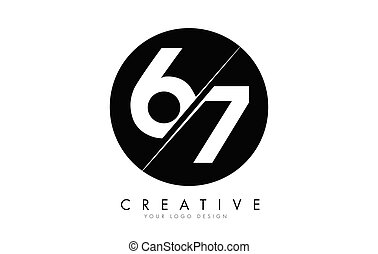 67 6 7 Number Logo Design with a Creative Cut and Black ...