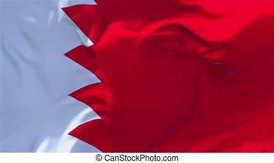 67. Bahrain Flag Waving in Wind Continuous Seamless Loop Background.