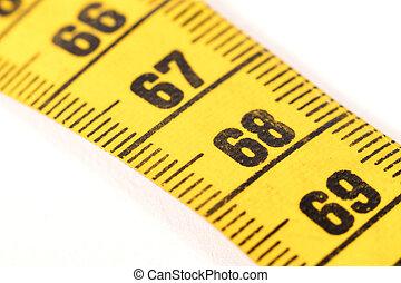 68, amarillo, cinta, -, medición, primer plano, blanco, ...
