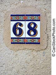 '68', cerámico, número, ibiza, styl, azulejo