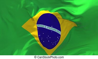 69. Brazil Flag Waving in Wind Continuous Seamless Loop...