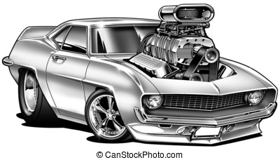 '69 Muscle Car Cartoon With Blower - B&W Illustration