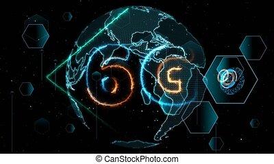 6G network super speed Internet digital world map in monitor digital meter cycle radar 3D electronic meter inside sent data by quantum satellite star brust background