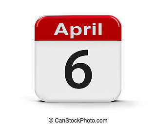 6th April - Calendar web button - Sixth of April -...