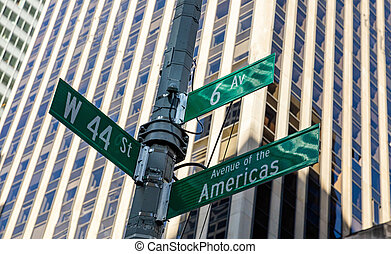 6th ave and W44, Manhattan New York downtown. Green color street signs