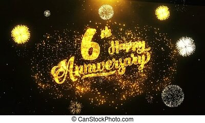 6th Happy Anniversary Text Greeting, Wishes, Celebration, invitation Background