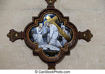 6th Stations of the Cross, Veronica wipes the face of Jesus, St Francis Xavier's Church in Paris, France