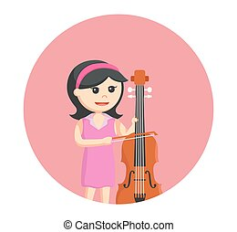 6woman musician playing counter bass in circle background