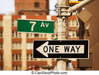 7ème, avenue, signe rue, dans, new york, -, manhattan