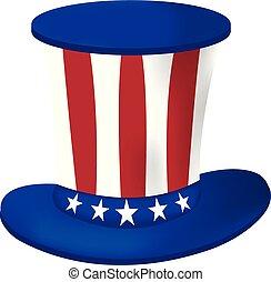 7月, イラスト, day., アメリカ人, ベクトル, 4, th, icon., 帽子, 漫画, 独立, 幸せ