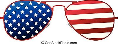 7月, イラスト, day., アメリカ人, ベクトル, 4, th, icon., 幸せ, 漫画, 独立, ガラス