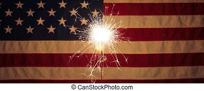 7月4日, 火をつけられた, アメリカ人, 前部, 旗, 花火, 祝福