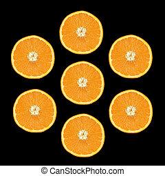 7, オレンジ, に薄く切る