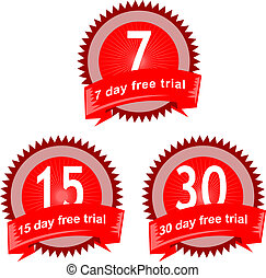 Illustration of an icon showing 7, 15 and 30 day free trial signs isolated on white