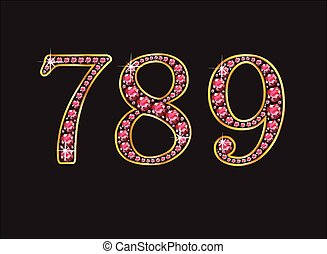 7, 8, 9 Ruby Jeweled Font with Gold