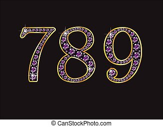 7, 8 and 9 Amethyst Jeweled Font