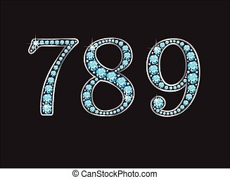7, 8 and 9 in Aquamarine Jeweled Font Jeweled Font with Silver Channels