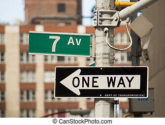 7, aleja, ulica znaczą, w, nowy york, -, manhattan