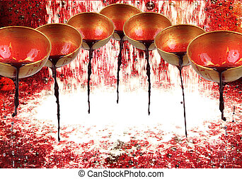 7 bowls are poured with blood and a waterfall