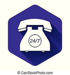 7, call-center., téléphone, long, illustration, pourpre, ouvert, client, button., jours, jour, week., soutien, hexagone, all-day, icône, isolé, blanc, shadow., 24 heures, vecteur