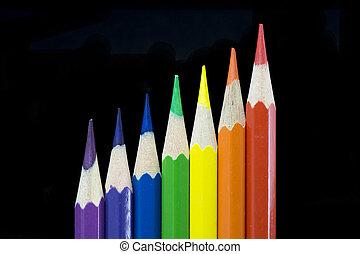 7 coloured pencils