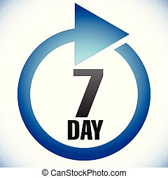7 day Turnaround time (TAT) icon. Interval for processing, ...