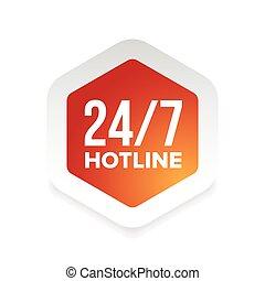 7 days 24 hours hotline vector