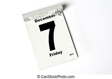 7. December 2012 - calendar sheet