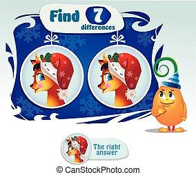 7, diferenças, achar, veado