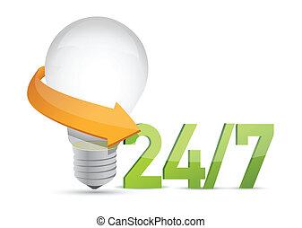 7, en mouvement, service, idées, 24, concept