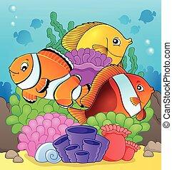 7, fish, temat, rafa, wizerunek, koral