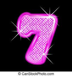 7, girly, número, bling, rosa