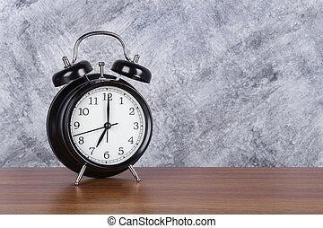 7 heures, mur, vendange, horloge, bois, fond, table