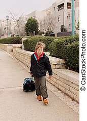 7, jährige, kind, geht, zu, schule