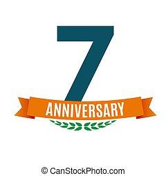 7, jubileum, illustratie, jaren, vector, achtergrond, lint, mal