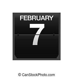 7., kalender, toonbank, februari