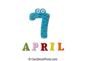 7, letters., avril, nombres, fond, blanc