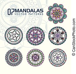7 mandalas monochrome boho style set