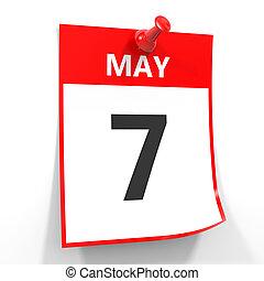 7 may calendar sheet with red pin. - 7 may calendar sheet...