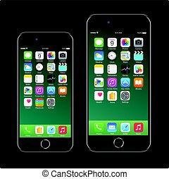 7, mobil, realistisk, svart, brännmärka, smartphone, iphone, ringa, äpple, färsk